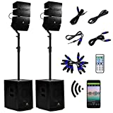 AKUSTIK 12 Inch 4000Watt Powered PA Speaker System Combo Set, DJ Array Speaker Set with Remote Control, Bluetooth/USB/SD/RCA, Two Subwoofers & 8 X Array Speakers Set