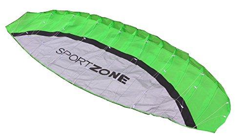 UAAC Kiteboarding Beginner Basic Training Kite Green 2.5 m Size with Flying Lines and Handles Kitesurfing