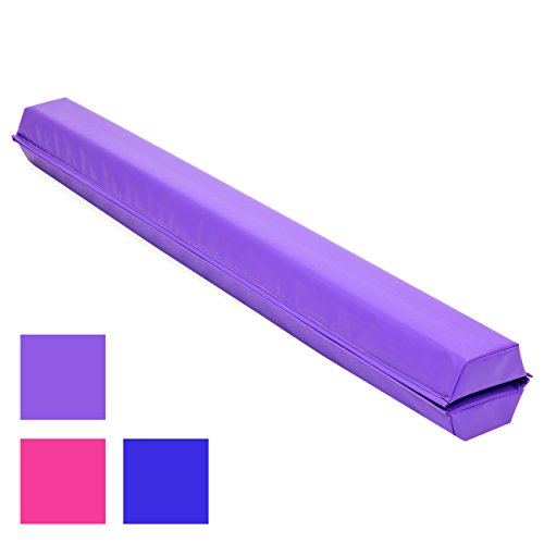 Best Choice Products 9ft Full Size Folding Floor Balance Beam for Gymnastics and Tumbling w/Medium-Density Foam, 4in Wide Surface, Non-Slip Vinyl - Purple