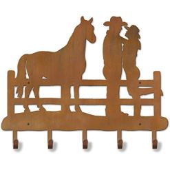 Cowboy Couple with Horse Coat Rack