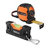 Measuring Tape, Tape Measure 26 Ft Metric and Inches with Magnetic Hook, Nylon Coating, Wrist Strap, A Bonus with Level 4.5 Inch, Magnetic Torpedo Level Plumb/Level/45-Degree for Construction - MT-S01