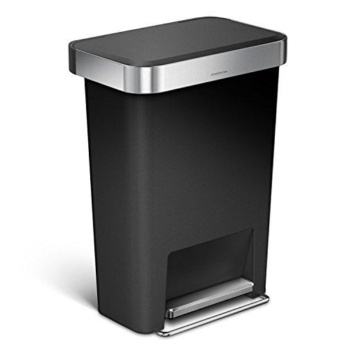 simplehuman 45 Liter / 11.9 Gallon Rectangular Step Can with Liner Pocket, Black Plastic