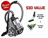 Ovente ST2620B Bagless Canister Cyclonic Vacuum - HEPA Filter - Includes Pet/Sofa, Bendable Multi-Angle, Crevice Nozzle/Bristle Brush, Retractable Cord - Featherlite, Black (Renewed)