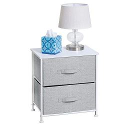 mDesign Night Stand/End Table Storage Tower – Sturdy Steel Frame, Wood Top, Easy Pull Fabric Bins – Organizer Unit for Bedroom, Hallway, Entryway, Closets – Textured Print – 2 Drawers – Gray/White