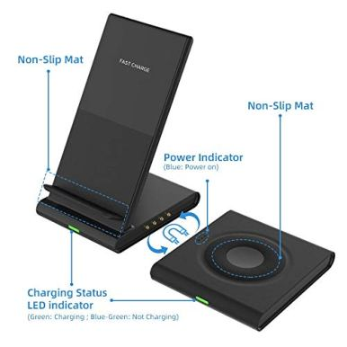 Dual-Wireless-ChargerCOSOOS-Qi-Certified-Wireless-Charging-Stand-for-iPhone-12-Pro1211-Pro-MaxXsXrX8-PlusAirpods-ProSamsung-Galaxy-S20S10S9Samsung-WatchGalaxy-Buds-with-QC-30-Adapter