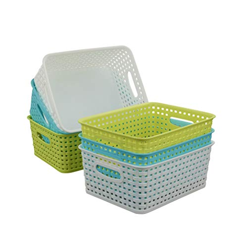 Qsbon Plastic Storage Baskets / Bins Organizer for Bathroom, 6-Pack
