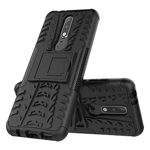 Prime Retail Nokia 5.1 Plus Hybrid Armor Back Cover Case with Kickstand Wheel Pattern for Nokia 5.1 Plus(Black) 4