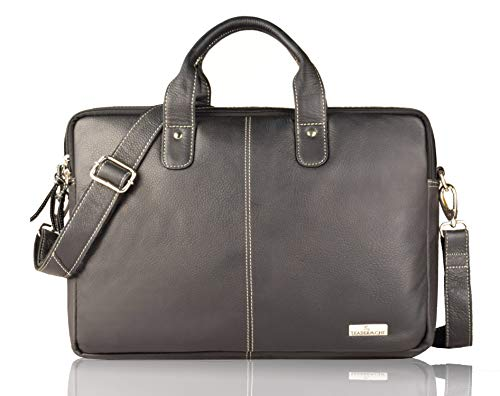 Leaderachi Black 100% Genuine Leather 15 inch Laptop Messenger Briefcase Bag [ Salvador ] Summer Sale Special