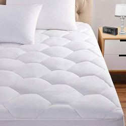 Queen Mattress Pad, 8-21″ Deep Pocket Protector Ultra Soft Quilted Fitted Topper Cover Fit for Dorm Home Hotel -White