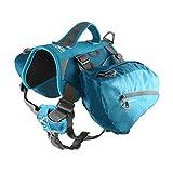 Kurgo Big Baxter Dog Backpack, Dog Saddlebag, Dog Pack, Adjustable Saddlebag for Hiking, Walking, Running, Camping, Coastal Blue