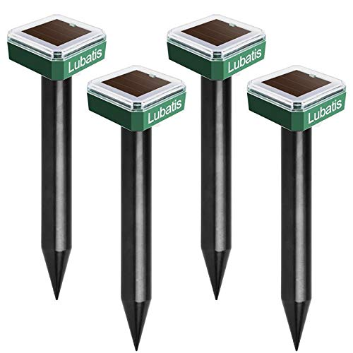Lubatis 4 Pack Solar Powered Mole Repellent - Sonic Mole Repeller Gopher and Vole Chaser Spike Deterrent Mole Control to Get Rid of Moles, Voles and Gophers