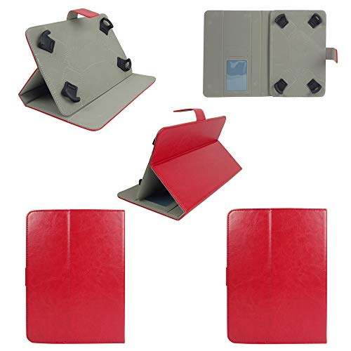 41qbWHK 1qL Emartbuy Smart Hard Back Flip Stand Wallet Cover for Amazon Fire HD 7 Tablet : Size (7-8 Inch) - Red Plain