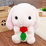 GOOGEE Rabbit Stuffed Animal - Classical Soft Rabbit Stuffed Animal Bunny Plush Toy Rabbit Plush Pillow for Kids Friend Girls - 18 Inch White with Parrot - Mrs Velvatine White Yellow Big