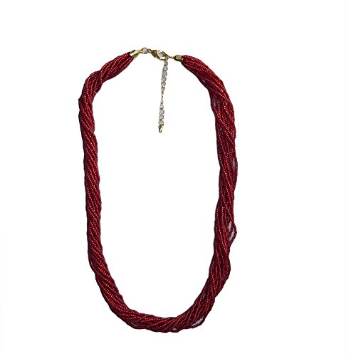 Ruby Red Multi-strand Seed Beads Necklace with 16K Gold Plated Brass Findings, Hand Made, Nepal, Japanese Beads,N18