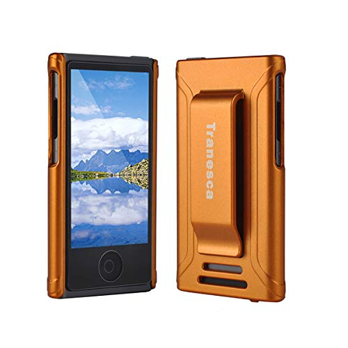 iPod Nano 7 case,Tranesca iPod Nano 7th & 8th Generation Rubber Cover Shell case with Belt Clip and Premium Tempered Glass Screen Protector - Sunset Orange