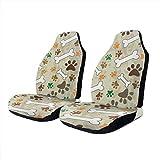 Car Seat Covers Dog Paw Print Bone Elastic Saddle Blanket With Seat Universal Car Seat Accessories,2 PCS