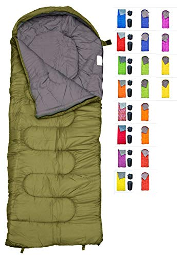 REVALCAMP Sleeping Bag for Cold Weather - 4 Season Envelope Shape Bags by Great for Kids, Teens & Adults. Warm and Lightweight - Perfect for Hiking, Backpacking & Camping (Olive - Envelope Left Zip)