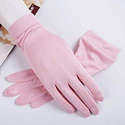 Agelec High-Grade Silk Silk Gloves Silk Knit Beads Short Sleeves Cold Breathable Silk Mitten Pure Silk Moisturizing Gloves Adult Eczema Hand Skin Care Uniform Unisex (Color : A)