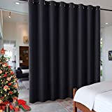 RYB HOME Black Privacy Office Divider Panel Extra Wide Long Curtain, Premium Contemporary Portable Ring Top Room Divider for Office/Apartment, 8 Foot Tall x 15 Foot Wide, 1 Pack