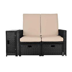 B BAIJIAWEI 5pcs Patio Wicker Loveseat – Outdoor Rattan Sofa Set with Cushion – Adjustable Lounge Chair with Ottoman Footrest, Wicker Furniture for Garden, Patio, Balcony, Beach, Coffee Bar, Deck