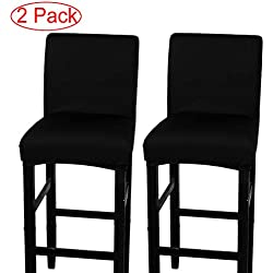 LJNGG 2 Pack Chair Cover Slipcover Counter Stool Covers Dining Room Kitchen Bar Stool Cafe Furniture Chair Seat Cover Stretch Protectors Only Chair Cover(Black)