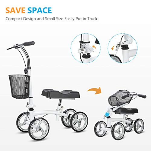 OasisSpace Small Size Lightweight Knee Scooter Walker,Compact and Portable Knee Walker Crutches Alternative for Foot Injuries Support up to 250LBS (White) deal 50% off 41qqXSMLCjL