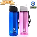 SurviMate Filtered Water Bottle for Camping, Hiking, Backpacking and Travel, BPA Free with 4-Stage Intergrated Filter Straw (Blue-Pink)