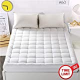 """WARM HARBOR King Cooling Mattress Pad Cover with 18"""" Deep Pocket Overfilled Cotton White Bed Topper Cooling Mattress Topper Down Alternative"""