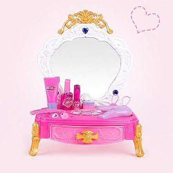 YUIOP Girls Make Up Dressing Table, Princess Dressing Table Pretend Beauty Play Toy Set,Dresser Vanity Beauty Table Top Set Simulation Toy with Mirror Kids Gifts
