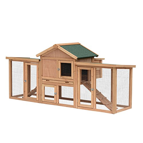 PawHut 82'' Wooden Backyard Hen House Chicken Coop - Wood