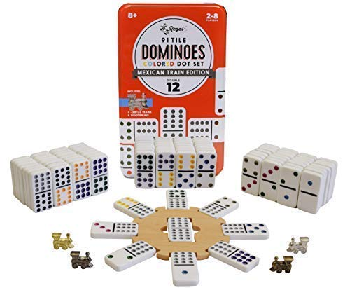 Regal Games Double 12 Mexican Train Dominoes with Wooden Hub and Metal Trains