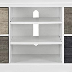 Ameriwood Home Mercer Console with Multicolored Door Fronts for TVs, 50″, White