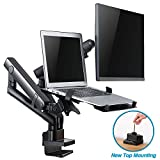 AVLT-Power Dual 32' Monitor Mount with 15.6' Laptop Holder Stand - Two Height Adjustable Mechanical Spring Arms Holds 17.6 lbs VESA Compatible Screens and 10 lbs Notebook New Top Mounting