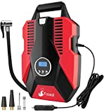 Foseal Portable Air Compressor Pump, 12V DC Digital Tire Inflator 150 PSI Auto Shut-off Easy to Use Tire Pump with Emergency Led Light & Long Cable for Car Motorcycle Bicycle/Schrader Tires Balls-Red