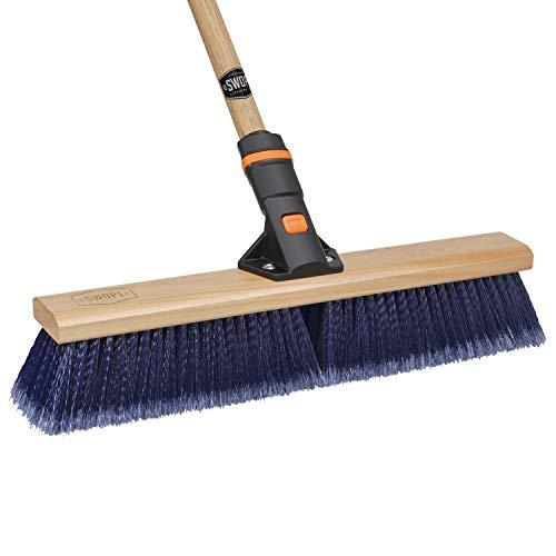 "18"" SWOPT Premium Multi-Surface Push Broom – 60"" Comfort Grip Wooden Handle – EVA Foam Comfort Grip – Handle Interchangeable with All SWOPT Products – Push Broom Great for Indoor and Outdoor Use"