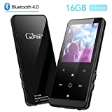AGPTEK Bluetooth MP3 Player 2.4 Inch HD Screen, 16GB Lossless Sound Music Player with Touch Button, Support AirPods Connection, FM Radio, FM Recording, Expandable up to 128GB Antenna Included