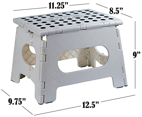 Folding Step Stool - The Lightweight Step Stool is Sturdy Enough to Support Adults and Safe Enough for Kids. Opens Easy with One Flip. Great for Kitchen, Bathroom, Bedroom, Kids or Adults.