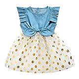 Girls Dress, Princess Dresses Sleeveless Denim Tops Floral Tutu Skirts (1-2 Years, Gold)