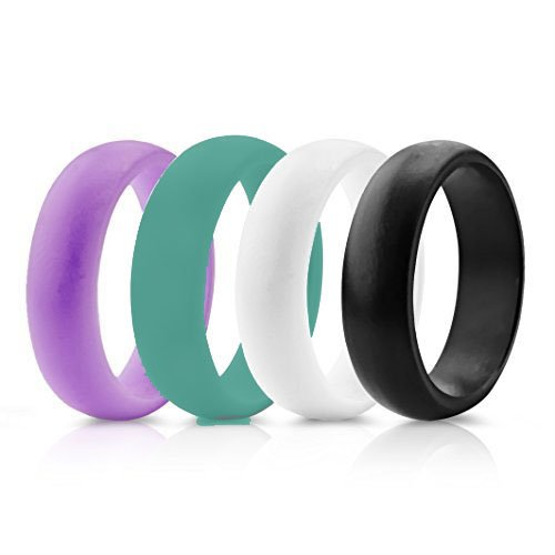 silicon wedding ring band for women 4 packs safe flexible comfortable medical grade love rings set fit for sports outdoors workout fitness athletes - Sports Wedding Rings