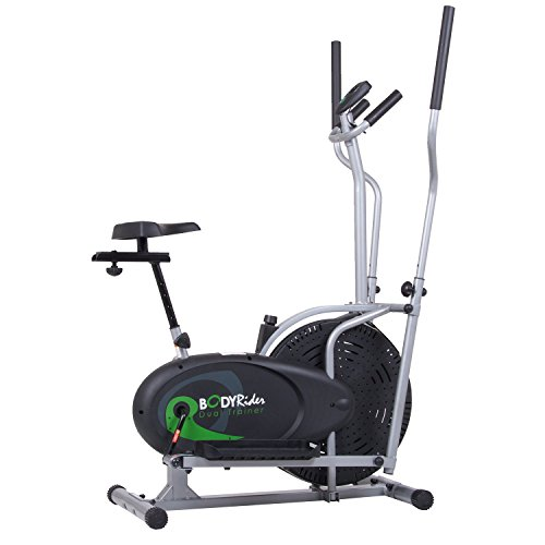 Black Friday Fitness Cyber Monday PROMO! Body Rider BRD2000 Elliptical Trainer and Exercise Bike with Seat and Easy Computer / Dual Trainer 2 in 1  Cardio Home Office Fitness Workout Machine