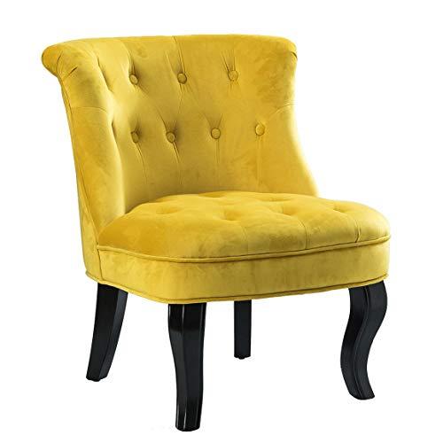 Yellow Gold Upholstered Chair/Jane Tufted Velvet Armless ...