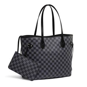 Daisy Rose Checkered Tote Shoulder Bag with inner pouch - PU Vegan Leather 19 Fashion Online Shop gifts for her gifts for him womens full figure