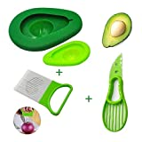 Sunnycows Kitchen Tools Set, 3-in-1 Avocado Saver and Silicone Food Storage Holder,Free Gift Vegetable Slicer Not Just for Onion