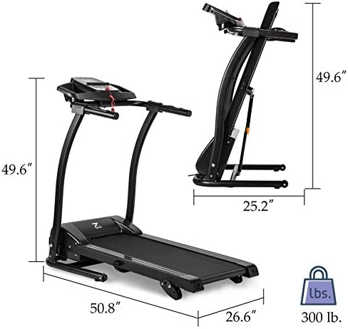 ZELUS 1100W Folding Treadmill for Home Gym with 3 Level Incline, Heart Monitor, Portable Electric Running Machine, Treadmill Foldable with Cup/Phone Holders/Mat 5