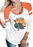 DUTUT Thankful Blessed Thanksgiving T-Shirt Women 3/4 Sleeve Baseball Tee Shirt Crew Neck Striped Tops Size M (Orange)