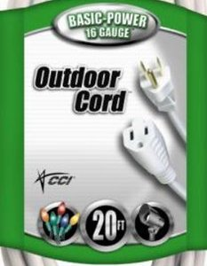 Coleman Cable Outdoor Extension Cord In White (20 Ft, 16 gauge)