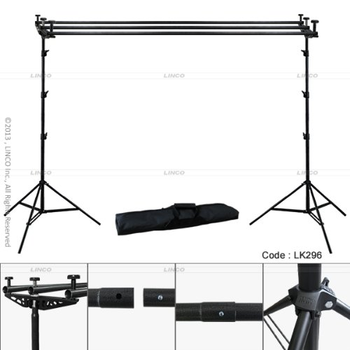 Linco 10ft Triple Crossbar Background Support Stand Kit Photo Studio 2 Piece 9 feet Backdrop Stands and 3 Piece 10 ft Crossbar (4 Sections) with Triple Mount on Lincostore