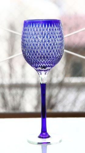 Edo Kiriko Wine Glass: Blue
