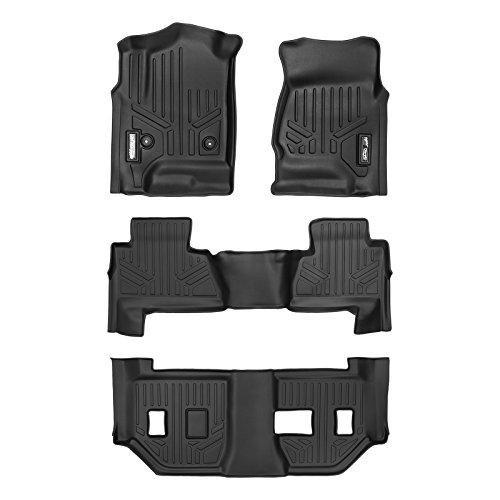 SMARTLINER Floor Mats 3 Row Liner Set Black for 2015-2018 Chevrolet Suburban / GMC Yukon XL (with 2nd Row Bench Seat)