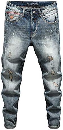 KLIEGOU Men's Ripped Slim Fit Tapered Leg Jeans